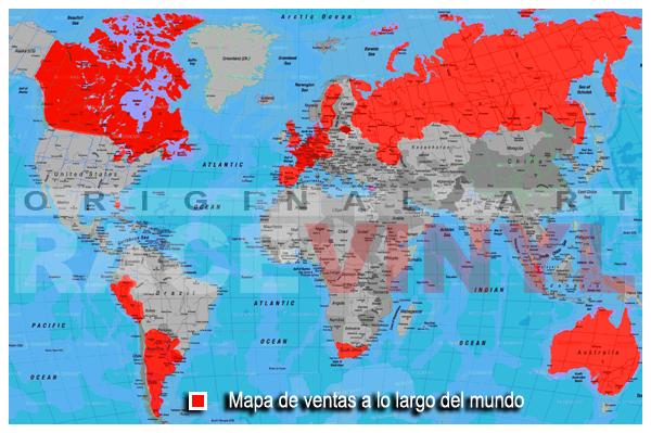 Mapa de ventas realizadas por racevinyls 26 paises map sells worldwide countries