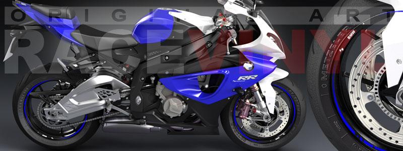Racevinyl bmw s 1000 rr race stripes rim wheel decals stickers vinyl azul