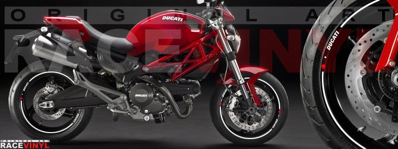 Racevinyl pegatinas llanta moto vinilo sticker rim wheel Ducati Monster blanco