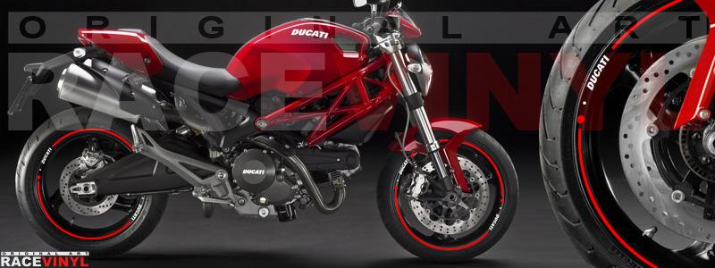 Racevinyl pegatinas llanta moto vinilo sticker rim wheel Ducati Monster rojo