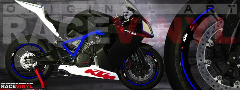 Racevinyl pegatinas llanta moto vinilo sticker rim wheel KTM Superduke 1190 RC8 azul