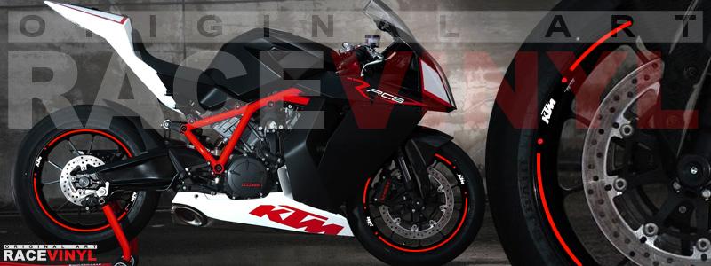 Racevinyl pegatinas llanta moto vinilo sticker rim wheel KTM Superduke 1190 RC8 rojo