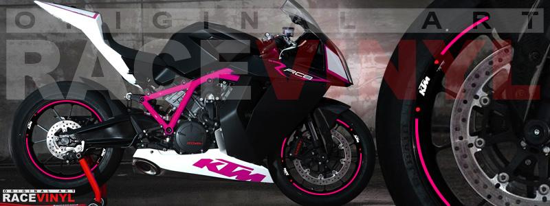 Racevinyl pegatinas llanta moto vinilo sticker rim wheel KTM Superduke 1190 RC8 rosa