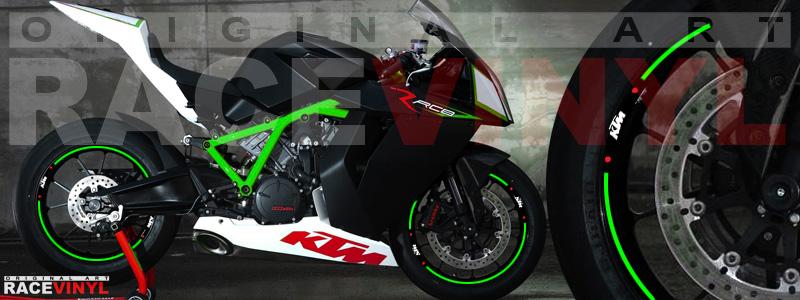 Racevinyl pegatinas llanta moto vinilo sticker rim wheel KTM Superduke 1190 RC8 verde