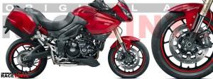 Racevinyl pegatinas llanta moto vinilo sticker rim wheel KTM Triumph Tiger 1050 rojo