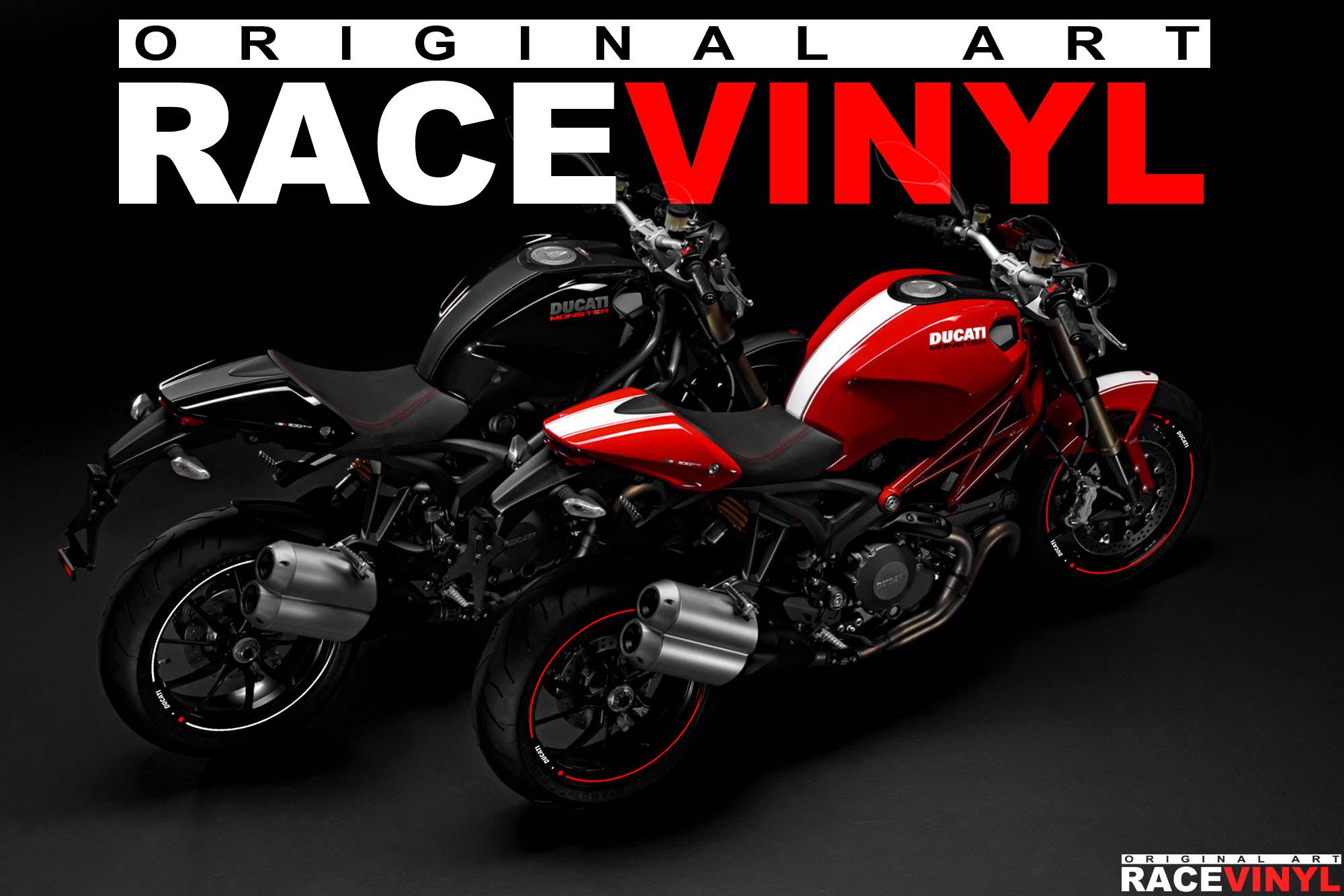 Racevinyl Ducati Monster 400 620 696 659 750 796 800 900 s2r s4r 1000 1100 s r ie evo 1200 pegatina adhesivo rueda llanta vinilo rim sticker stripe vinyl wheel 03