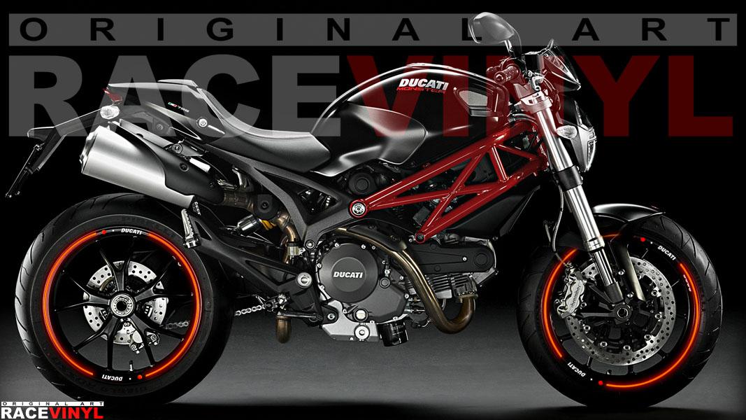 Racevinyl Ducati Monster 400 620 696 659 750 796 800 900 s2r s4r 1000 1100 s r ie evo 1200 pegatina adhesivo rueda llanta vinilo rim sticker stripe vinyl wheel 05
