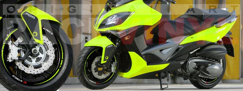 Racevinyl Kymco spuer dink venom xciting agility Adhesivos pegatina vinilo llanta moto vinyl rim sticker stripe race amarillo fluor