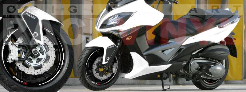Racevinyl Kymco spuer dink venom xciting agility Adhesivos pegatina vinilo llanta moto vinyl rim sticker stripe race blanco