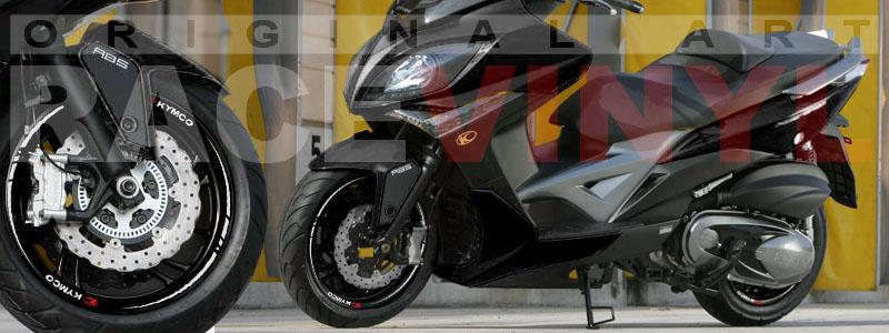 Racevinyl Kymco spuer dink venom xciting agility Adhesivos pegatina vinilo llanta moto vinyl rim sticker stripe race cromado