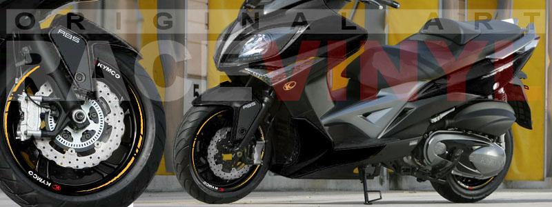 Racevinyl Kymco spuer dink venom xciting agility Adhesivos pegatina vinilo llanta moto vinyl rim sticker stripe race dorado