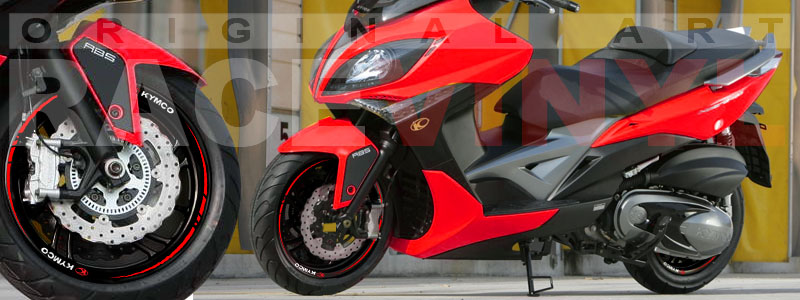 Racevinyl Kymco spuer dink venom xciting agility Adhesivos pegatina vinilo llanta moto vinyl rim sticker stripe race rojo