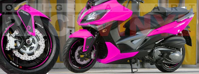 Racevinyl Kymco spuer dink venom xciting agility Adhesivos pegatina vinilo llanta moto vinyl rim sticker stripe race rosa