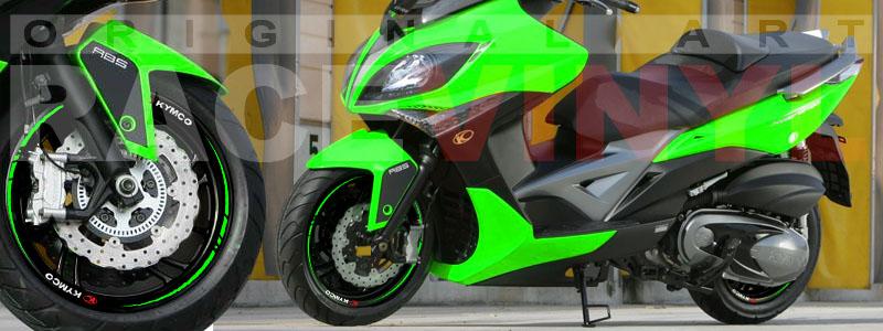 Racevinyl Kymco spuer dink venom xciting agility Adhesivos pegatina vinilo llanta moto vinyl rim sticker stripe race verde