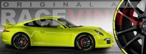 Racevinyl Porsche 911 carrera s cayenne panamera boxter vinilo amarillo fluor