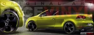 Racevinyl Volkswagen Golf GTI vinilo pegatina adhesivo Spire vinyl sticker llanta rueda amarillo fluor