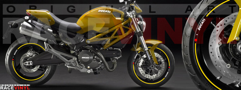 Racevinyl pegatinas llanta moto vinilo sticker rim wheel Ducati Monster amarillo