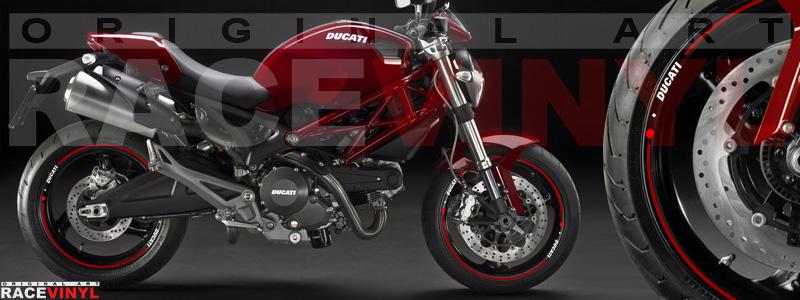 Racevinyl pegatinas llanta moto vinilo sticker rim wheel Ducati Monster burdeos