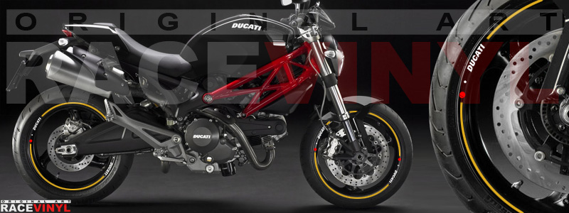 Racevinyl pegatinas llanta moto vinilo sticker rim wheel Ducati Monster dorado