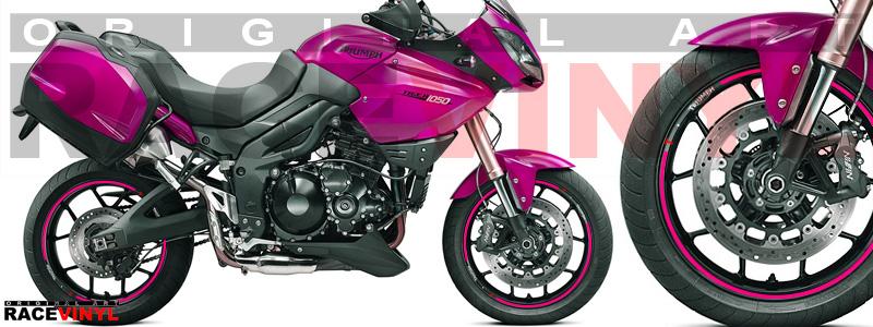 Racevinyl pegatinas llanta moto vinilo sticker rim wheel KTM Triumph Tiger 1050 rosa