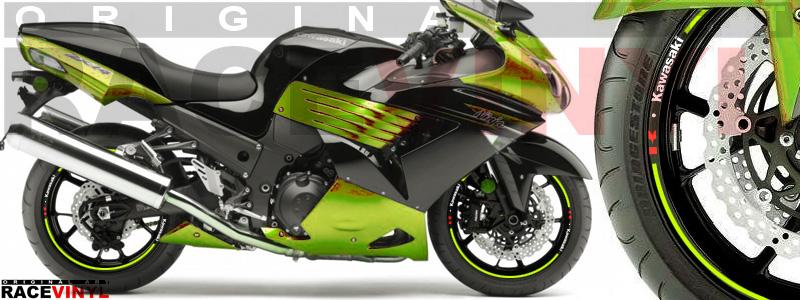 Racevinyl pegatinas llanta moto vinilo sticker rim wheel Kawasaki ZZR 1400 ZXR 14 amarillo fluor