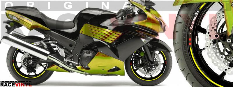 Racevinyl pegatinas llanta moto vinilo sticker rim wheel Kawasaki ZZR 1400 ZXR 14 amarillo