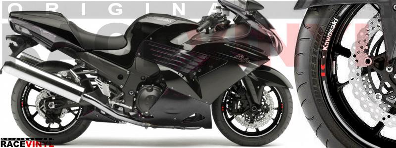 Racevinyl pegatinas llanta moto vinilo sticker rim wheel Kawasaki ZZR 1400 ZXR 14 cromado