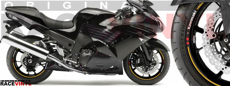 Racevinyl pegatinas llanta moto vinilo sticker rim wheel Kawasaki ZZR 1400 ZXR 14 dorado