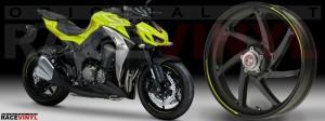 Racevinyl Kawasaki Z1000 ARROW pegatina vinilo llanta adhesivo rim sticker stripes wheel amarillo fluor