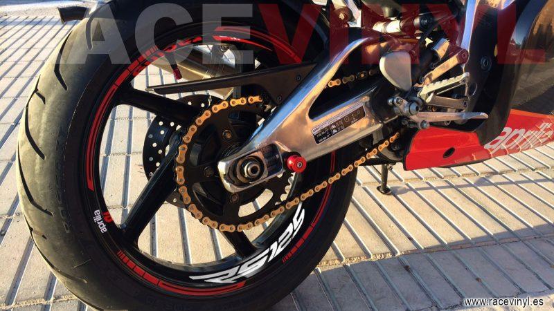 Aprilia rs 125 Kit PRO rojo logotipo Juan Alicante pegatinas vinilo adhesivo moto llanta rim sticker vinyl