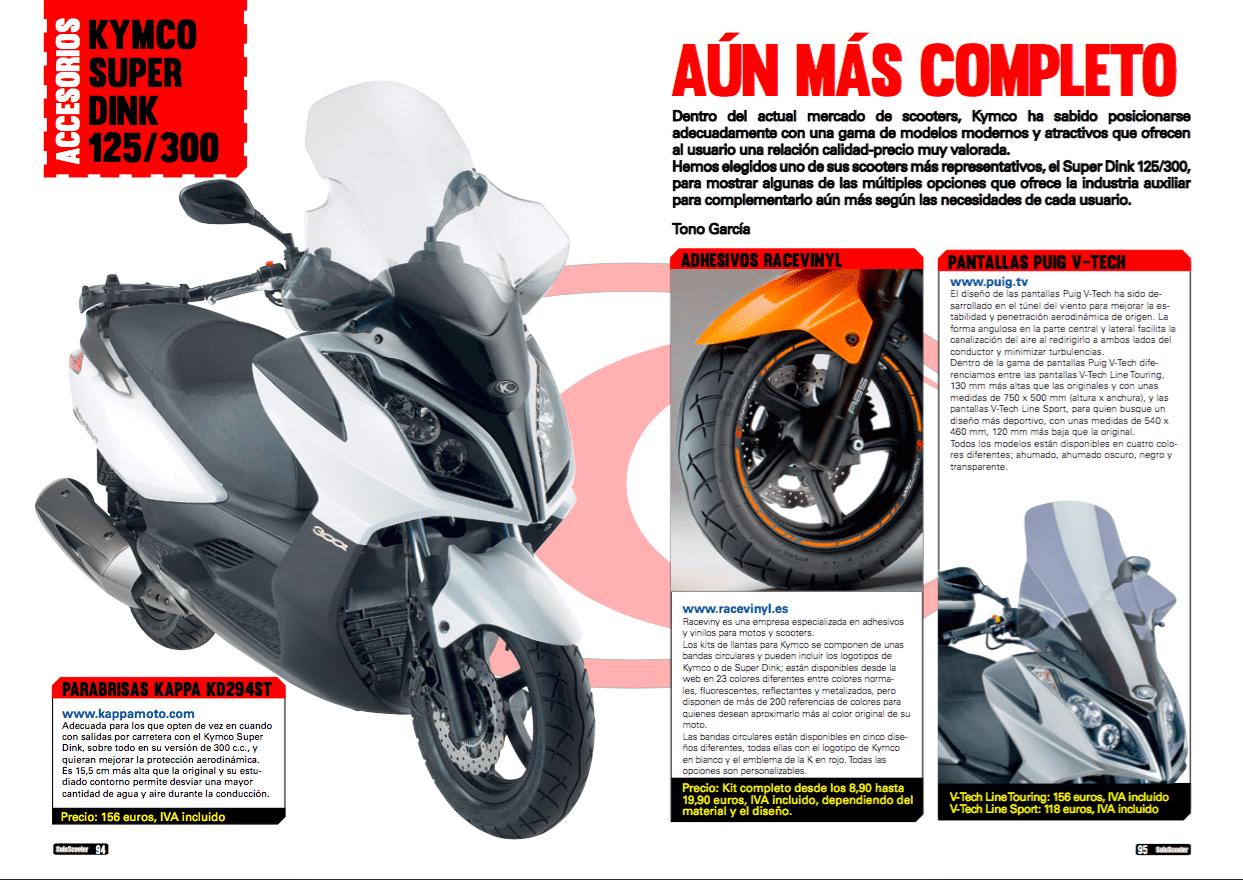 Reportaje Revista Nosolomoto a Racevinyl, accesorios para Kymco