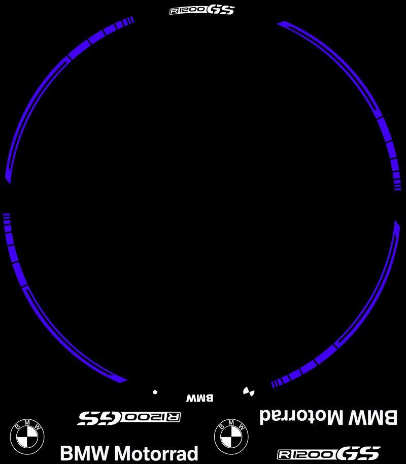 Contenido del KIT PRO de vinilos para llantas BMW R1200GS