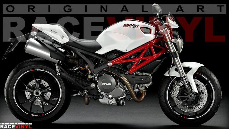 Ducati Monster accesorios personalizacion tiras blancas para llantas racevinyl