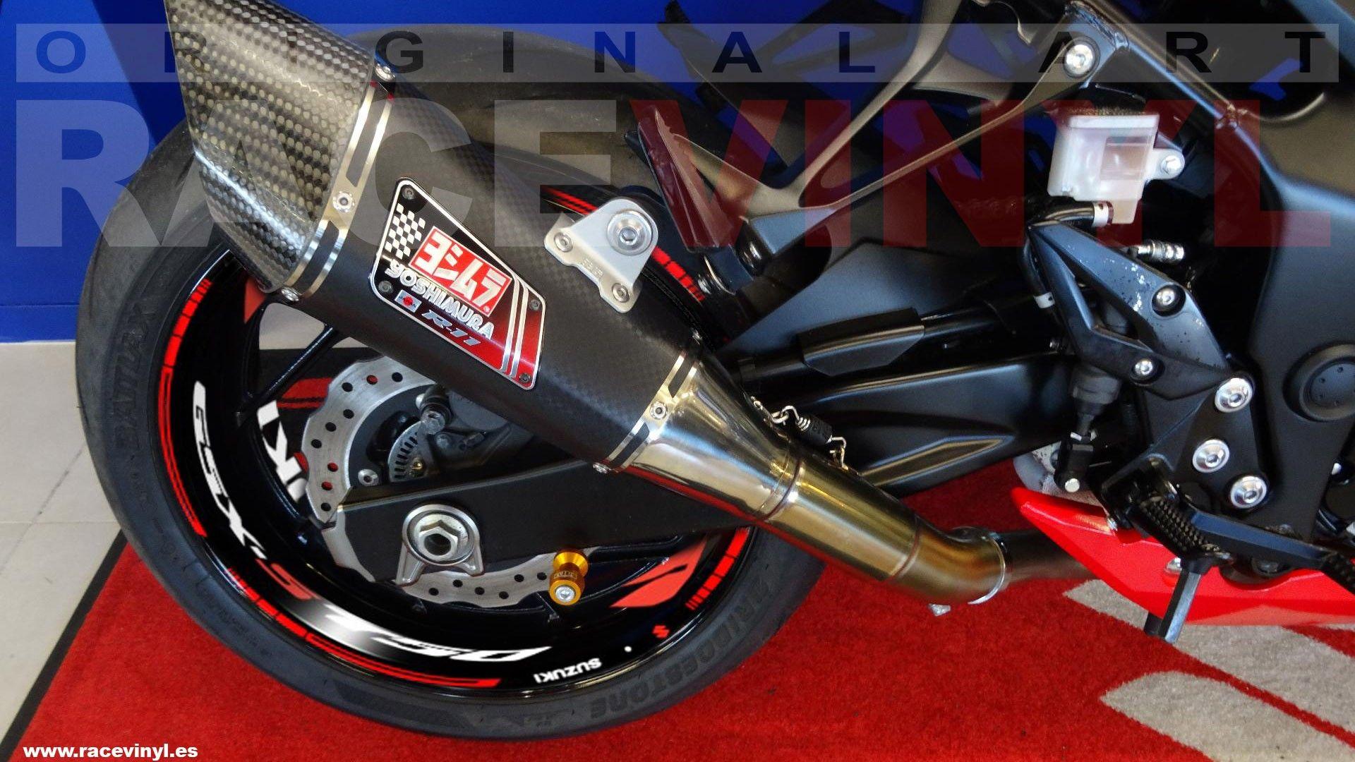 Suzuki GSXS750 con el kit pro de adhesivos para las llantas