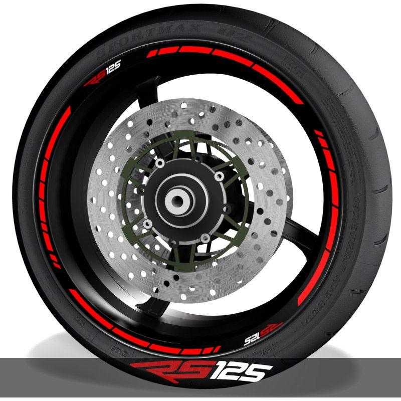 Pegatinas del perfil de llantas de moto adhesivos con el logo Aprilia RS125 speed