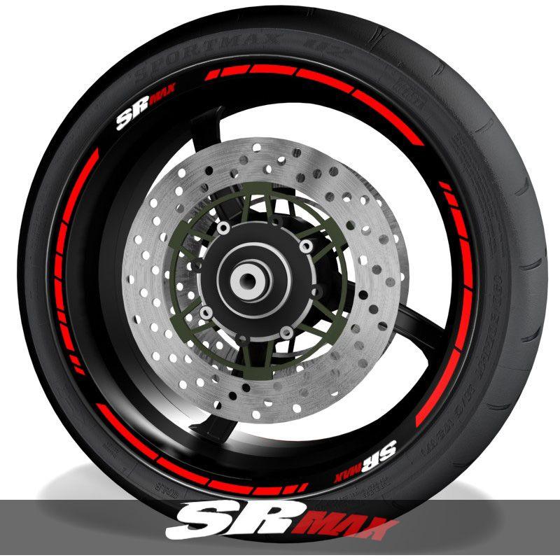 Adhesivos de moto vinilos para el perfil de llantas con logo Aprilia SRMax speed