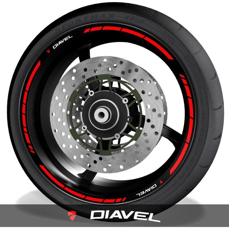 Pegatinas para perfil de llantas adhesivos de moto con logo Ducati Diavel speed
