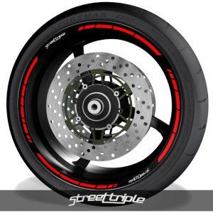 Vinilos de motos adhesivos para perfil de llantas logos Triumph Streettriple speed