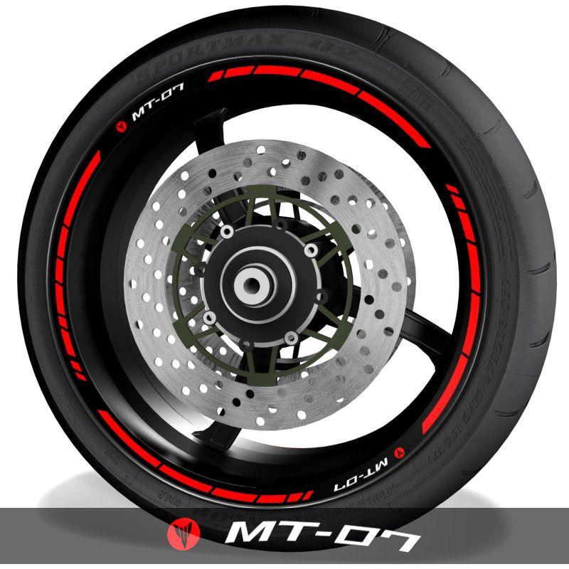 Pegatinas y vinilos para perfil de llantas de moto logos Yamaha MT07 speed