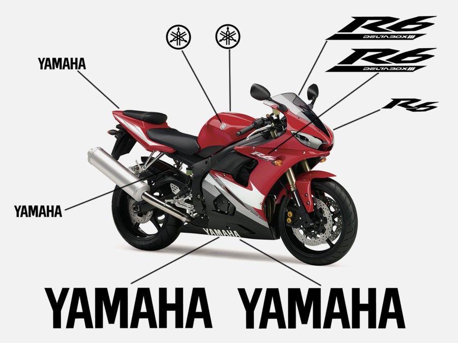 Esquema de los adhesivos para el carenado de la Yamaha YZF R6 de 2005