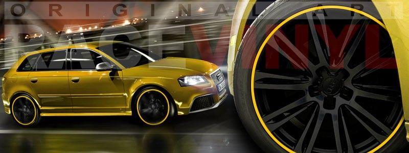 Audi A3 RS3 amarillo personalizado con los vinilos para las llantas de Racevinyl