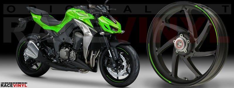 Kawasaki Z1000 Tuning con las cintas arrow para llantas de moto de Racevinyl