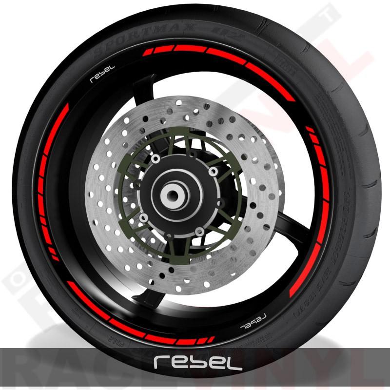 Pegatinas y accesorios adhesivos de motos vinilos perfil llantas Honda Rebel speed